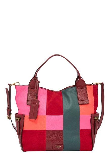 Fossil Red Color Block Leather Shoulder Bag