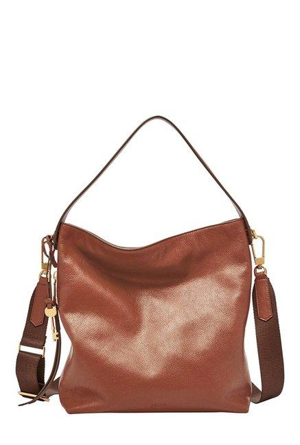 Fossil Maya Brown Solid Leather Shoulder Bag