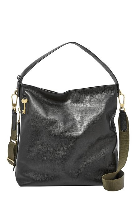 Fossil Maya Black Solid Leather Shoulder Bag
