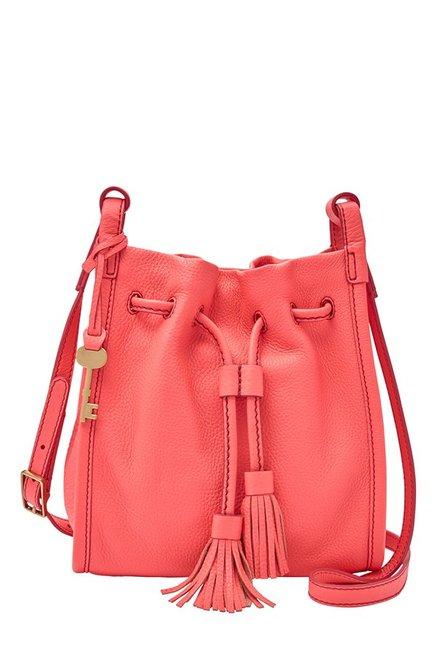 Fossil Neon Coral Solid Leather Shoulder Bag