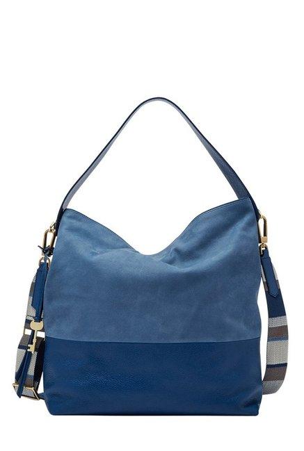 Fossil Blue Paneled Leather Shoulder Bag