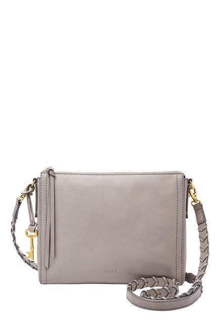 Fossil Emma Grey Solid Leather Sling Bag