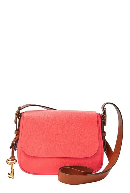 Fossil Neon Coral Solid Leather Flap Sling Bag