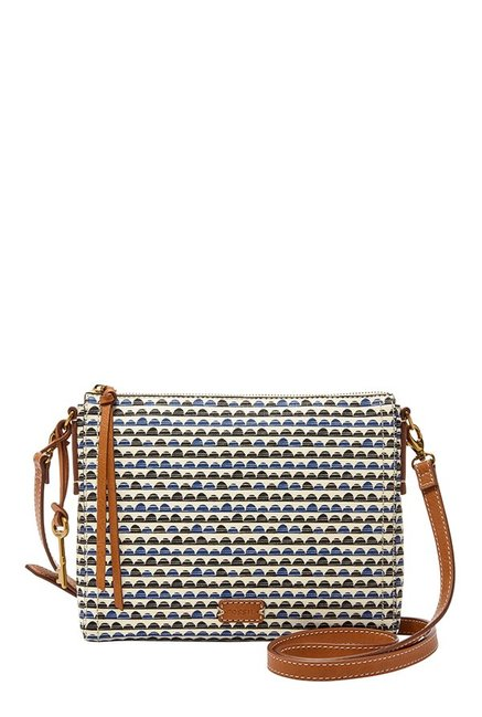 Fossil White Printed Leather Sling Bag