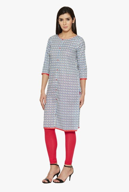 Globus Blue Printed Cotton Kurta