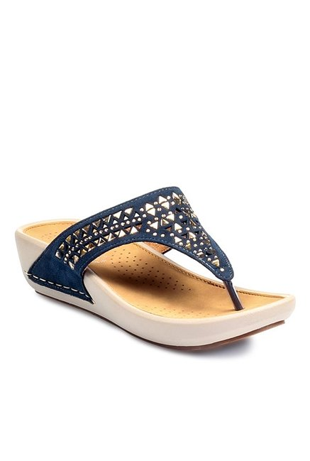 e680460dbc3 Buy Pavers England Navy Thong Wedges for Women at Best Price   Tata CLiQ