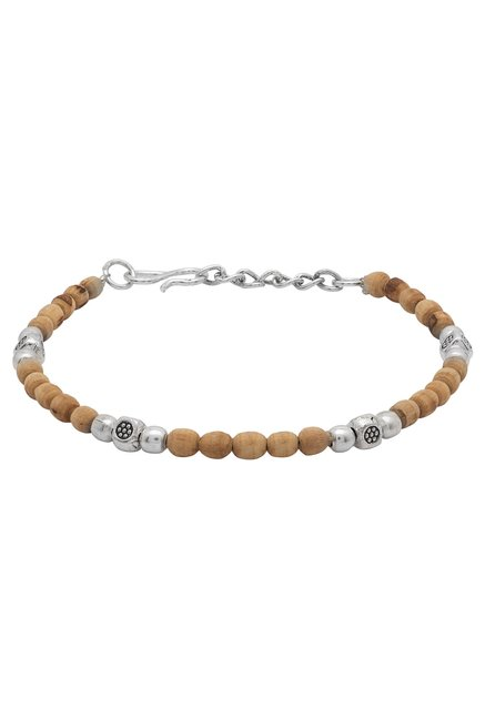 0a2546a13 Buy Voylla Brown   Silver Beads Tulsi Beaded Bracelet for Men Online At  Best Price   Tata CLiQ