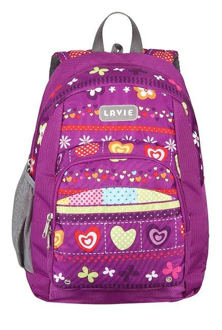 Lavie Impact 4 Purple & Green Printed Backpack