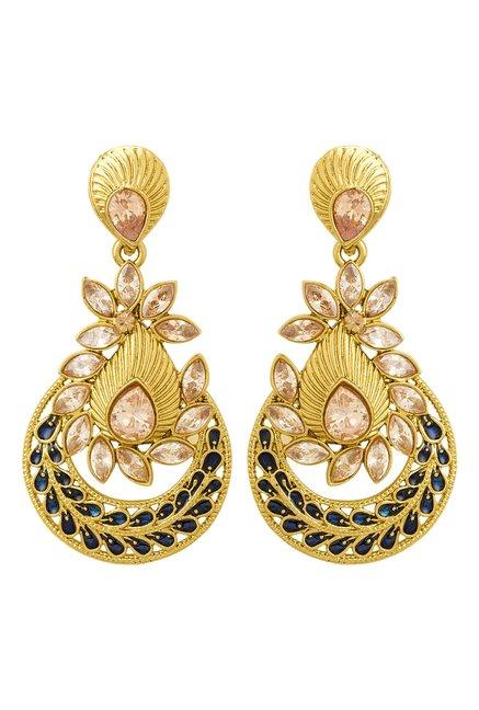 b3031f998 Buy Voylla Golden   Blue Alloy Chand Bali Earrings for Women ...