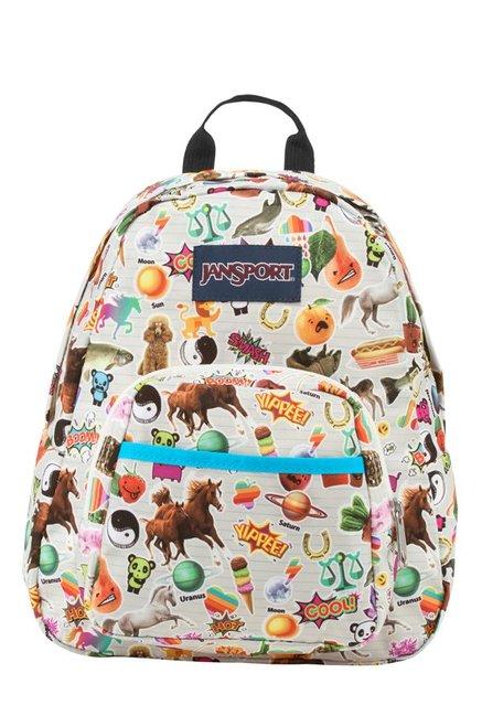 JanSport Half Pint White & Orange Printed Polyester Backpack