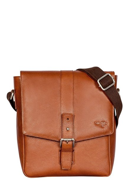 Quick Brown Fox Tan Solid Leather Flap Sling Bag