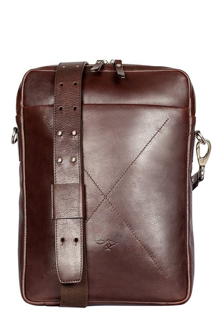 Quick Brown Fox Brown Stitched Leather Laptop Sling Bag
