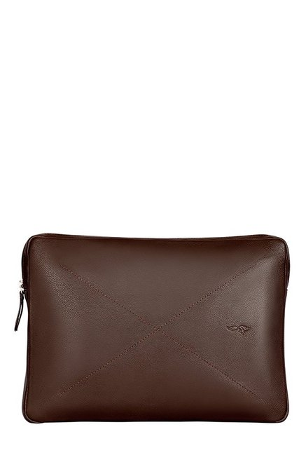 Quick Brown Fox Brown Stitched Leather Laptop Sleeve