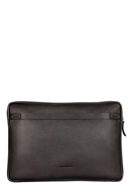 Quick Brown Fox Black Stitched Leather Laptop Sleeve