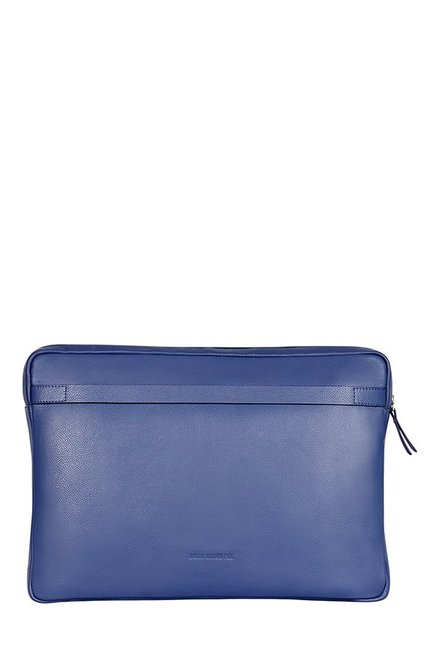 Quick Brown Fox Blue Stitched Leather Laptop Sleeve