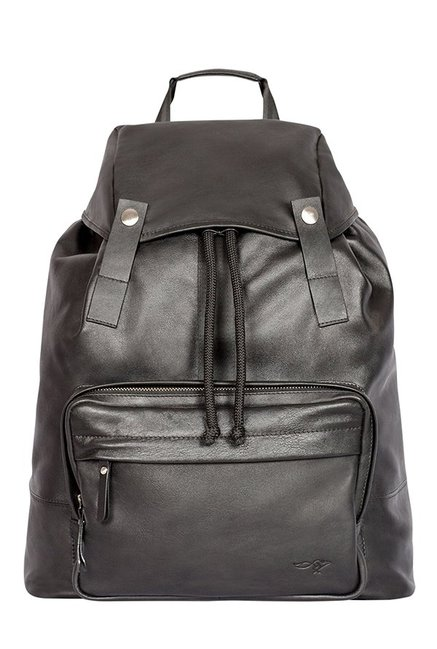 Quick Brown Fox Black Solid Leather Laptop Backpack