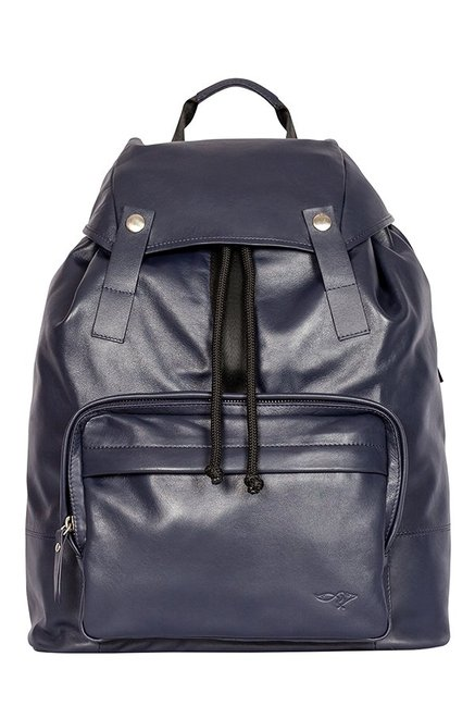 Quick Brown Fox Navy Solid Leather Laptop Backpack