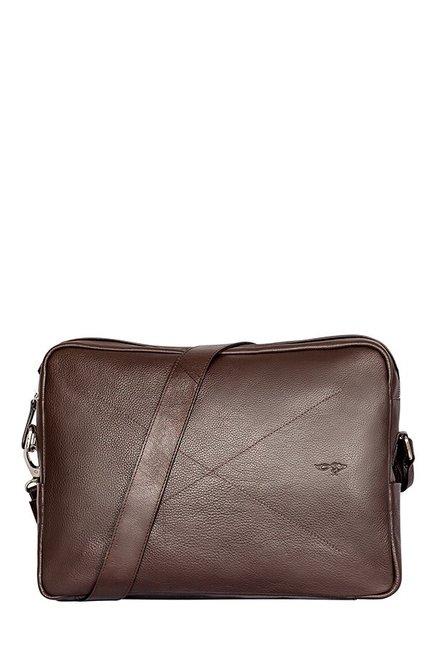 Quick Brown Fox Dark Brown Stitched Laptop Messenger Bag
