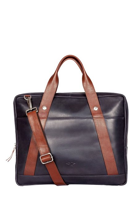 Quick Brown Fox Navy Solid Leather Laptop Messenger Bag