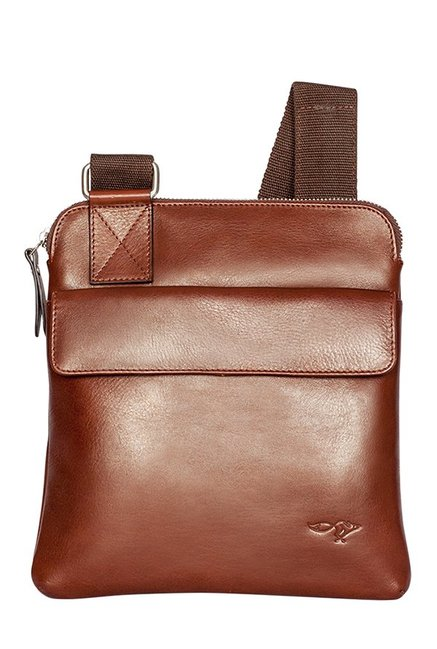 Quick Brown Fox Brown Solid Leather Sling Bag
