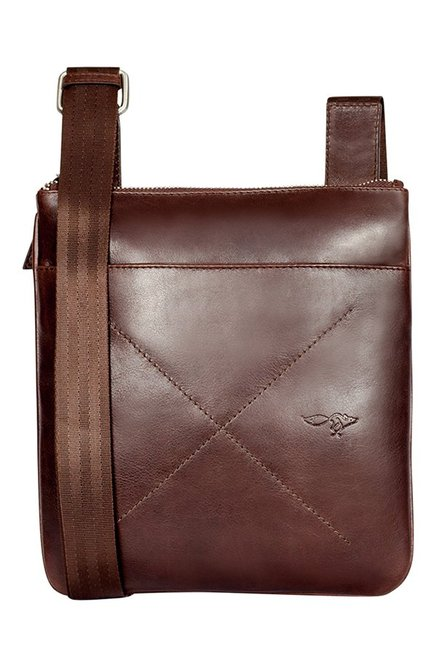 Quick Brown Fox Brown Stitched Leather Sling Bag