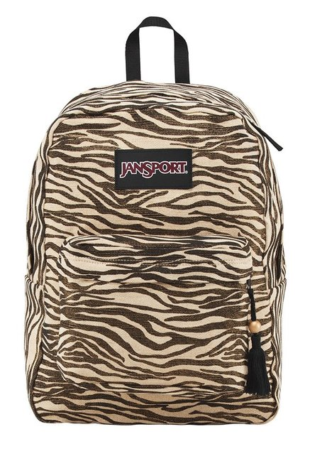 JanSport Super Fx Cream & Brown Printed Polyester Backpack
