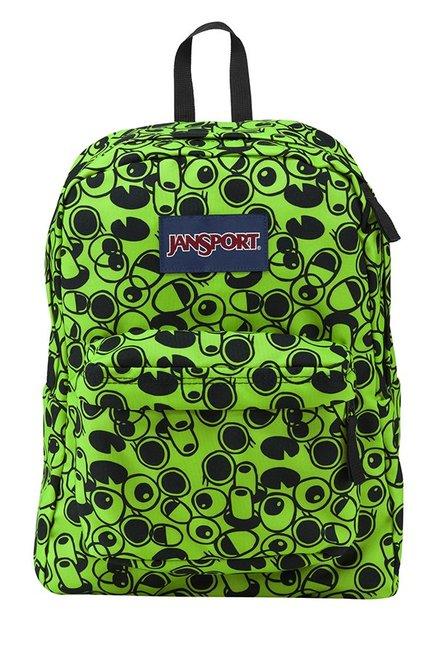 JanSport Superbreak Double Vision Zap Green & Black Backpack