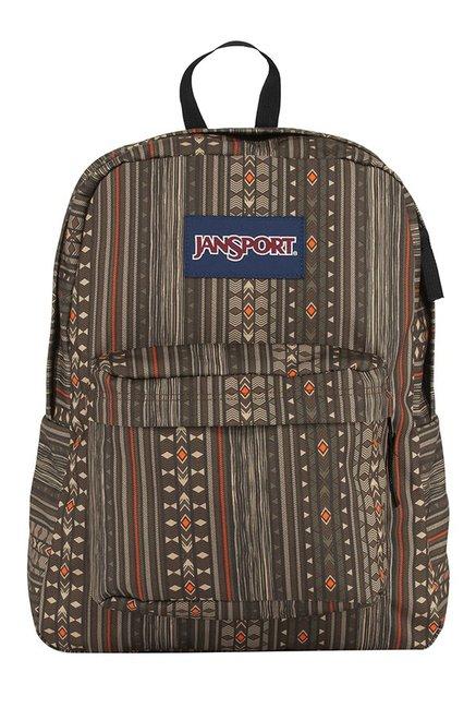 JanSport Superbreak Down Town Brown Printed Backpack