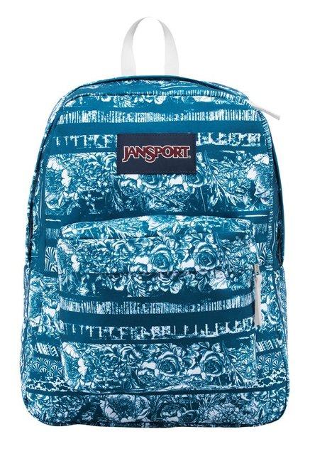 JanSport Superbreak Blue & White Floral Polyester Backpack