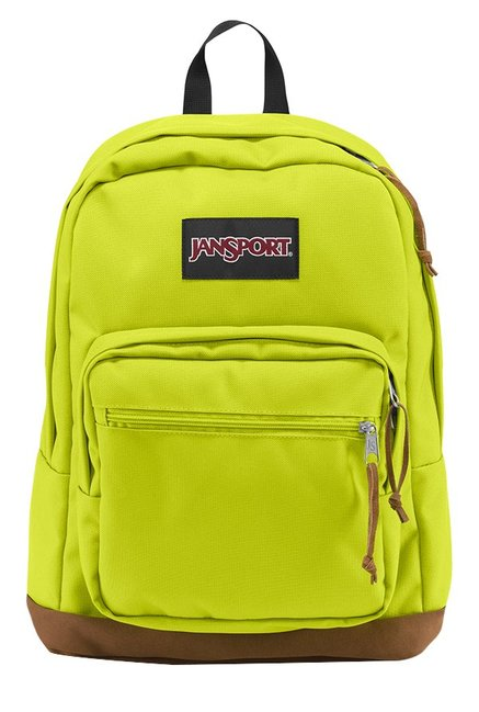 JanSport Right Pack Lime Green & Brown Solid Laptop Backpack