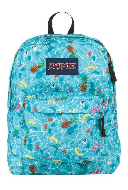 JanSport Superbreak Aqua Blue & White Printed Backpack