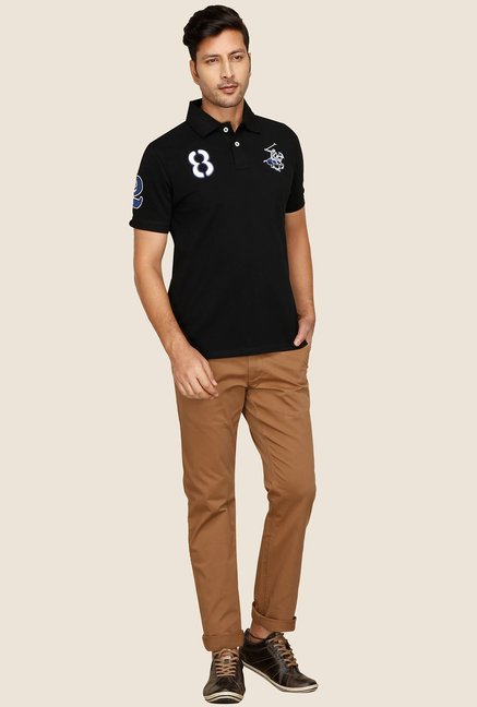 BHPC Black Slim Fit Polo Half Sleeves T-Shirt