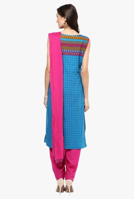 Jaipur Kurti Blue & Pink Printed Cotton Patiala Set