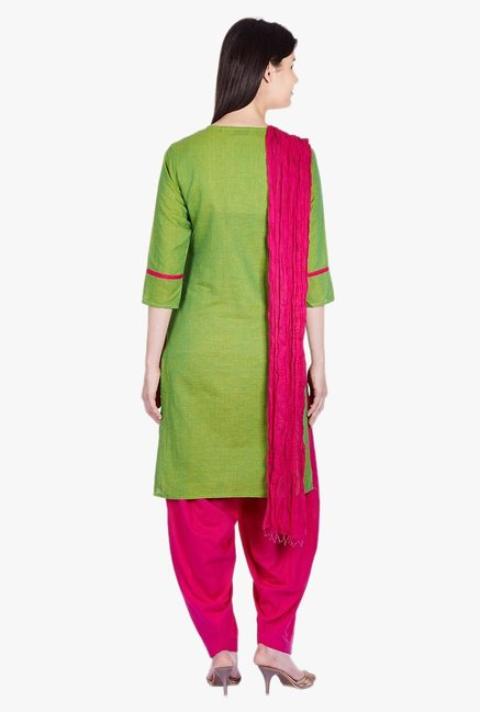 Jaipur Kurti Green & Pink Printed Cotton Patiala Set