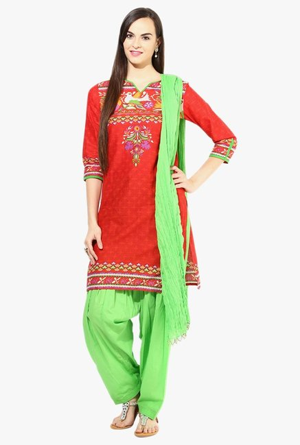 Jaipur Kurti Red & Green Printed Cotton Patiala Set