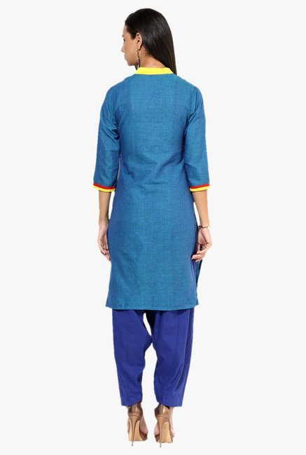 Jaipur Kurti Blue Printed Cotton Patiala Set