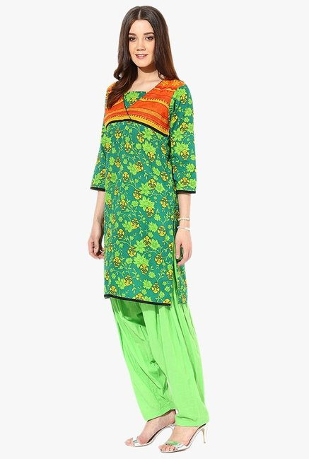 Jaipur Kurti Green Floral Print Cotton Patiala Set