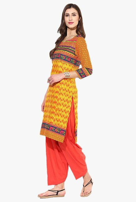 Jaipur Kurti Yellow & Orange Printed Cotton Patiala Set