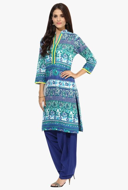 Jaipur Kurti Turquoise & Navy Printed Cotton Patiala Set