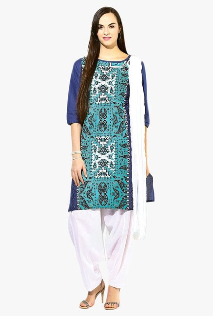 Jaipur Kurti Turquoise & White Printed Cotton Patiala Set