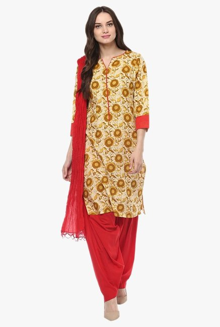 Jaipur Kurti Mustard & Red Printed Cotton Patiala Set