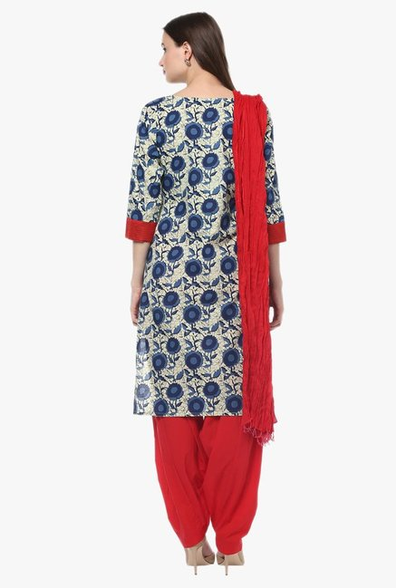 Jaipur Kurti Navy & Red Printed Cotton Patiala Set