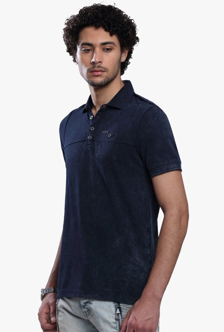 883 Police Navy Slim Fit Half Sleeves Polo T-Shirt