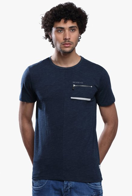 883 Police Navy Cotton Slim Fit T-Shirt