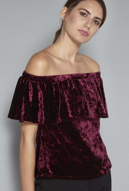9e8e38b3699400 Buy Wardrobe by Westside Berry Maine Crop Blouse for Women Online @ Tata  CLiQ