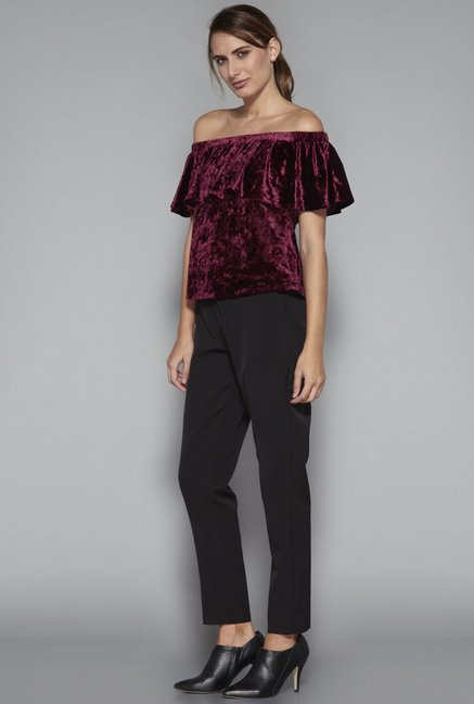 4847f7d887154e Buy Wardrobe by Westside Berry Maine Crop Blouse for Women Online ...