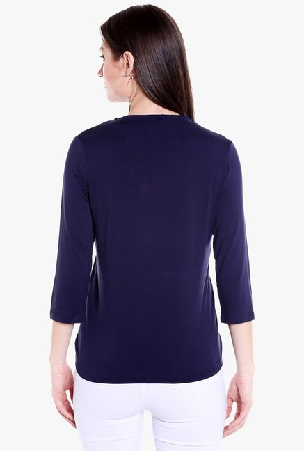 Globus Navy Polyester Button Wrap Shrug