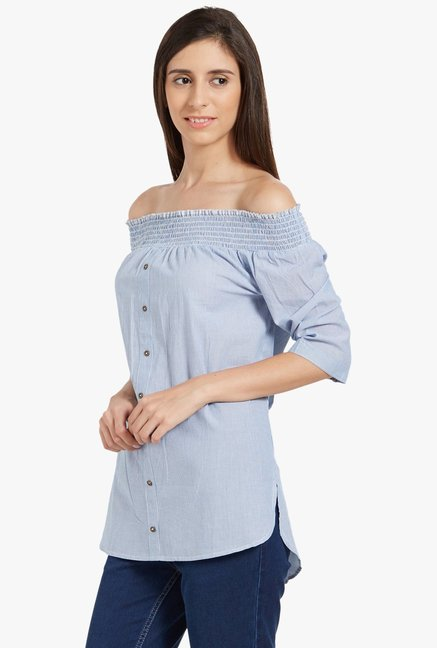 Globus Blue Striped Off Shoulder Top