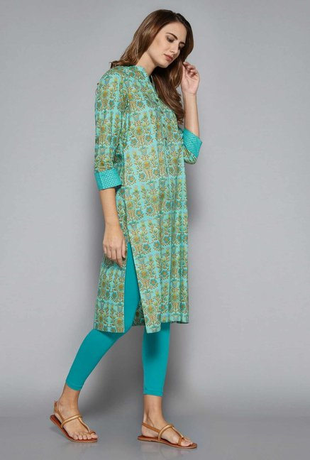 Utsa by Westside Turquoise Pure Cotton Kurta