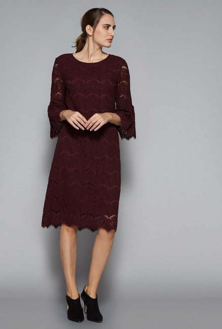 50f37f52c4a0 Buy Wardrobe by Westside Maroon Lace Dress for Women Online ...